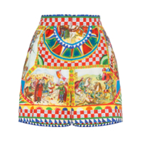 Dolce & Gabbana Short Cintura Alta Com Padronagem 'sicilian Carretto' - Hhy85 Multicoloured