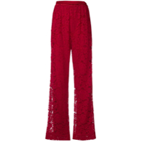 Dolce & Gabbana Floral Lace Wide Trousers - Vermelho