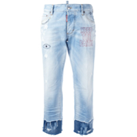 Dsquared2 Calça Jeans Cropped Com Bordado 'keep The Faith' - Azul
