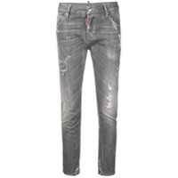 Dsquared2 Calça Jeans Cropped Destroyed - Cinza