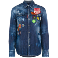 Dsquared2 Camisa Jeans Com Patches - Azul