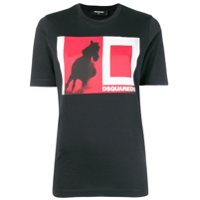 Dsquared2 Camiseta Color Block Com Logo - Preto