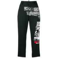 Dsquared2 Printed Patch Cropped Trousers - Preto