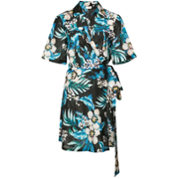 Dvf West Chemise Floral Mangas Curtas - Preto