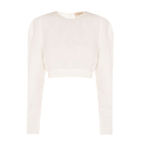 Egrey Top Cropped Mangas Longas - Off White