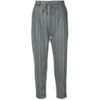 Eleventy Pinstripe Cropped Trousers - Cinza