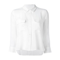 Equipment Camisa De Seda Cropped - Branco