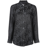 Equipment Camisa 'essential' De Seda Com Estampa De Leopardo - Preto