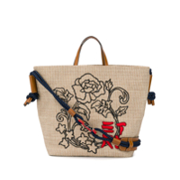 Etro Embroidered Woven Tote - Neutro