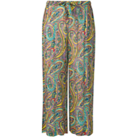 Etro Floral Print Cropped Trousers - Amarelo