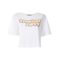 Eva T-Shirt Cropped Tropical Love - Branco