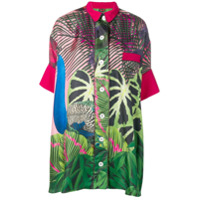 F.r.s For Restless Sleepers Leaf Print Shirt Dress - Rosa