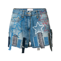 Faith Connexion Shorts Jeans Com Patchwork - Azul