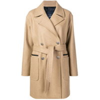 Fay Belted Double-Breasted Coat - Neutro
