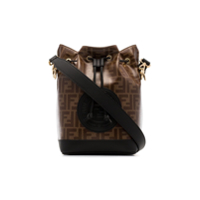 Fendi Black And Brown Mon Tresor Canvas And Leather Bucket Bag - Marrom