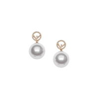 Fendi F Motif Drop Earrings - F18A4-Soft Gold +White +Cr