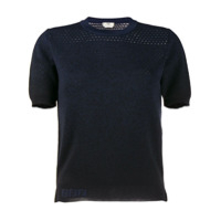 Fendi Perforated Detail Knit Top - Azul