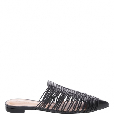 Flat Mule Natural Stripes Black | Schutz