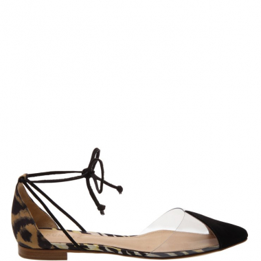Flat Vinil Lace Up Animal Print | Schutz