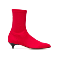 Gia Couture Kitten Heel Ankle Boots - Vermelho