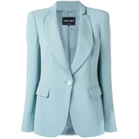 Giorgio Armani One-Button Fitted Silk Blazer - Azul