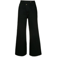 Ground Zero Calça Jeans Flare Cropped - Preto