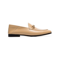 Gucci Beige Brixton Leather Loafers - Neutro