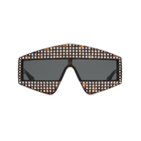 Gucci Eyewear Embellished Rectangular-Frame Sunglasses - Marrom