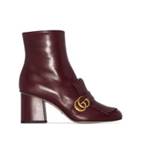 Gucci Marmont 75Mm Fringed Ankle Boots - 104 - Burgundy