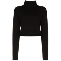 Helmut Lang Cropped Turtle-Neck Jumper - Preto