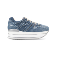 Hogan Denim Platform Sole Sneakers - Azul