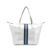 Hogan Striped Wide Tote Bag - Prateado