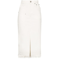 House Of Holland Saia Jeans Midi Com Barra Desfiada - Branco