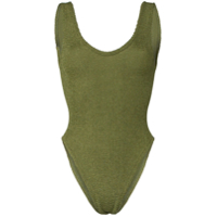 Hunza G Jeanne Scoop Neck High Leg Swimsuit - Verde