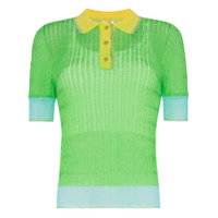 I-Am-Chen Camisa Polo Color Block Com Semi Transparência - Preto