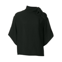 Iro Tie Collar Loose Fit Blouse - Preto