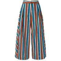 Isa Arfen Striped Flared Trousers - Marrom