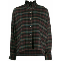 Isabel Marant Étoile Ruffle Neck Plaid Shirt - Marrom