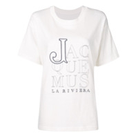 Jacquemus Logo Embroidered T-Shirt - Branco
