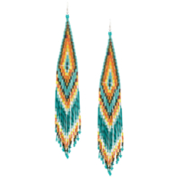 Jessie Western Beaded Long Earrings - Verde