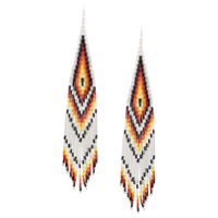 Jessie Western Long Beaded Earrings - Prateado
