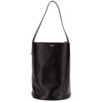 Jil Sander Embossed Logo Bucket Bag - Preto