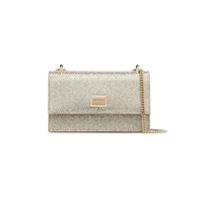 Jimmy Choo Metallic Gold Leni Glitter Leather Clutch Bag - Dourado