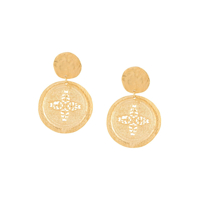 Kenneth Jay Lane Carved Coin Drop Earrings - Dourado