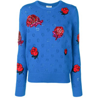Kenzo Embellished Flower Knitted Sweater - Azul