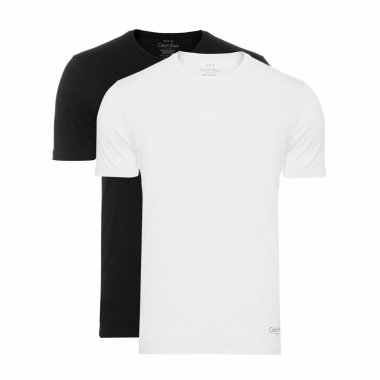 Kit 2 Camisetas Cotton Gola Careca - Branco E Preto
