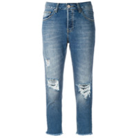 Le Lis Blanc Calça Girlfriend Cropped Jeans - Azul