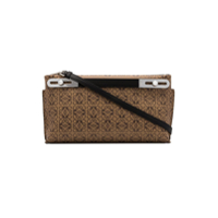 Loewe Brown Missy Small Two Tone Logo Print Leather Clutch Bag - Marrom