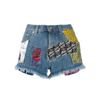 Loewe Shorts Jeans Com Patchwork - Azul
