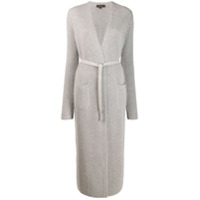 Loro Piana Long Belted Cardigan - Cinza